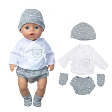 2020 New Baby New Born Fit 17 inch 43cm Doll Clothes Accessories Hat Trousers Jacket Socks 4-piece Suit For Baby Birthday Gift