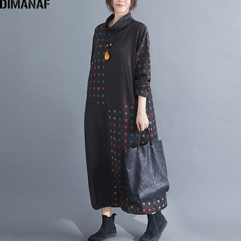 DIMANAF Plus Size Winter Vintage Women Dress Turtleneck Loose Female Lady Vestidos Elegant Print Black Long Sleeve Maxi Dress 2019 new spring v neck short sleeve print yellow pink chiffon dots loose big size xl long maxi split dress women fashion tide