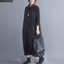 فستان نسائي شتوي عتيق مقاس كبير من DIMANAF فستان نسائي فضفاض بياقة مدورة فساتين نسائية أنيقة مطبوعة باللون الأسود بأكمام طويلة