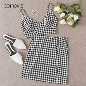 COLROVIE Buffalo Plaid Bralette Crop Top and Pencil Skirt Set Women Summer 2 Piece Set Sleeveless Elegant Two Piece Outfits