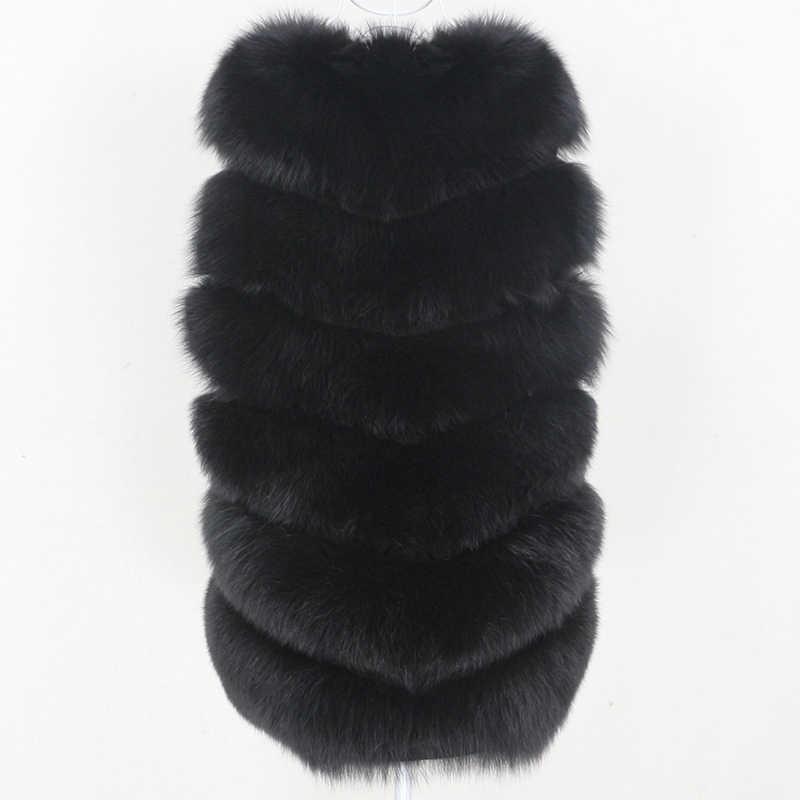 OFTBUY 2020 siyah gerçek kürk yelek kış ceket kadın ceket doğal büyük kabarık tilki kürk giyim Streetwear kalın sıcak Waistwear