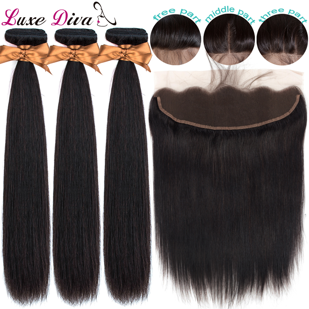 Luxediva Straight Hair Bundles With Frontal Closure Brazilian Human Hair Weave Bundles With Closure Preplucked With BabyhairRemy