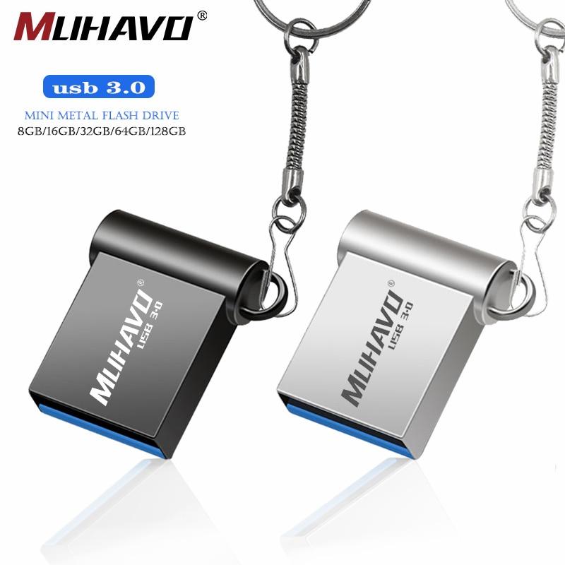 Super Mini Usb Flash Drive 3.0 128GB Pen Drive 64GB 32GB 16GB 8GB Metal Waterproof Usb Pendrive 3.0 Flash Drive Free Print LOGO