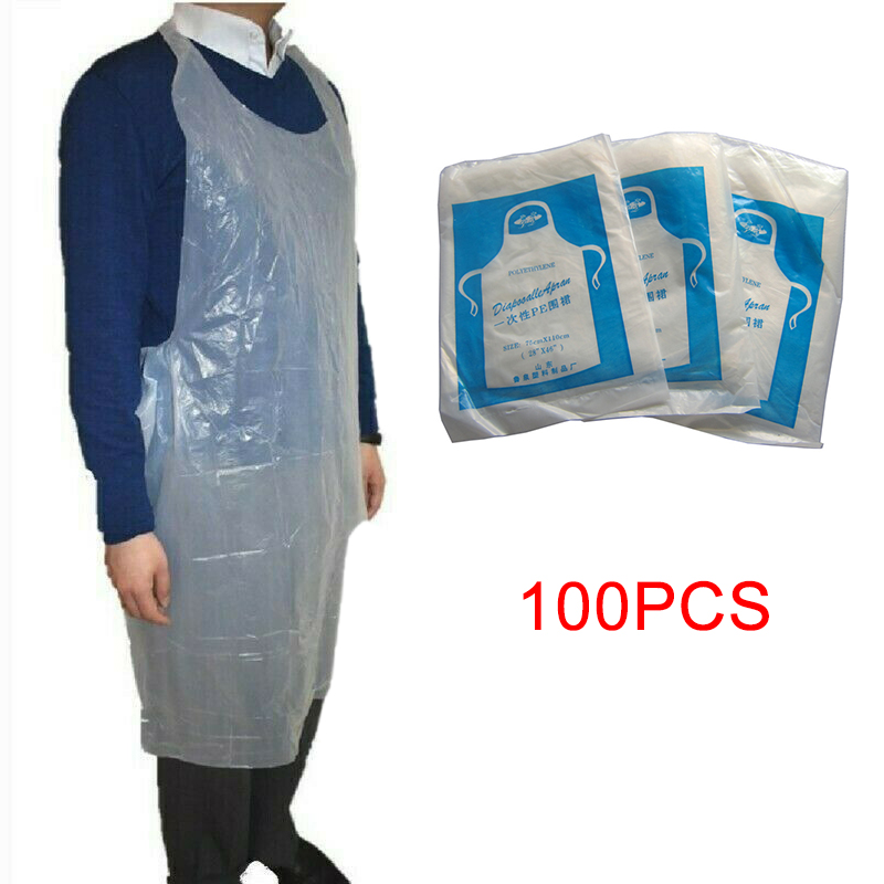 100pcs Disposable Apron Waterproof Anti-oil Anti-fouling Plastic Apron Splash-proof Cooking Catering Baking Home Cleaning Apron