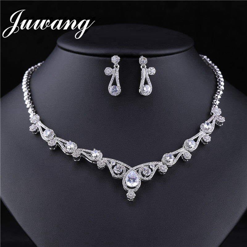 JUWANG Noble Princecss Baroque <font><b>Nigeria</b></font> Necklace Earrings <font><b>Jewelry</b></font> <font><b>Sets</b></font> Luxurious Transparent Inlaid Zircon Copper Chain Collar image