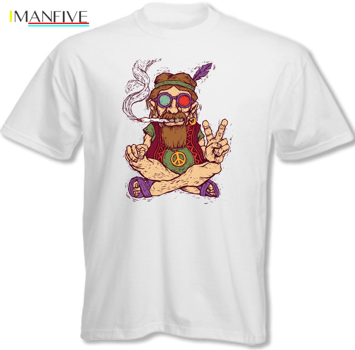 Chilled Out Hippy Smoking A Spliff - Mens Funny T-Shirt Peace Love Weed New Design Cotton Male Tee Shirt Designing Simple Style