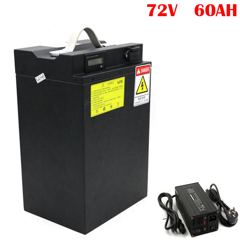 <font><b>72V</b></font> <font><b>60AH</b></font> Lithium <font><b>Battery</b></font> Downtube 72 volt <font><b>Battery</b></font> For 1000W 1500W 2800W Scooter Motorcycle with 5A Fast Charger image