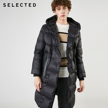 SELECTED Men's Mid-length Parka Outwear Silhouette Hooded Down Jacket