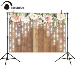 Image 2 - Allenjoy düğün fotoğrafçılığı zemin bahar rustik ahşap çiçek parti Glitter aşk arka plan perde Photocall Photozone