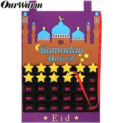 OurWarm Eid Mubarak wiszący czuł kalendarz adwentowy 30 dni Ramadan Decor kalendarz odliczania na prezenty dla dzieci Ramadan zaopatrzenie firm