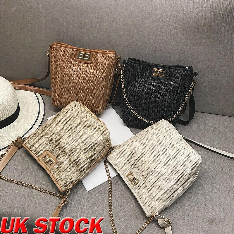 Женская Плетеная соломенная сумка на цепочке, сумочка, Сумочка через плечо, летние пляжные сумки в стиле бохо