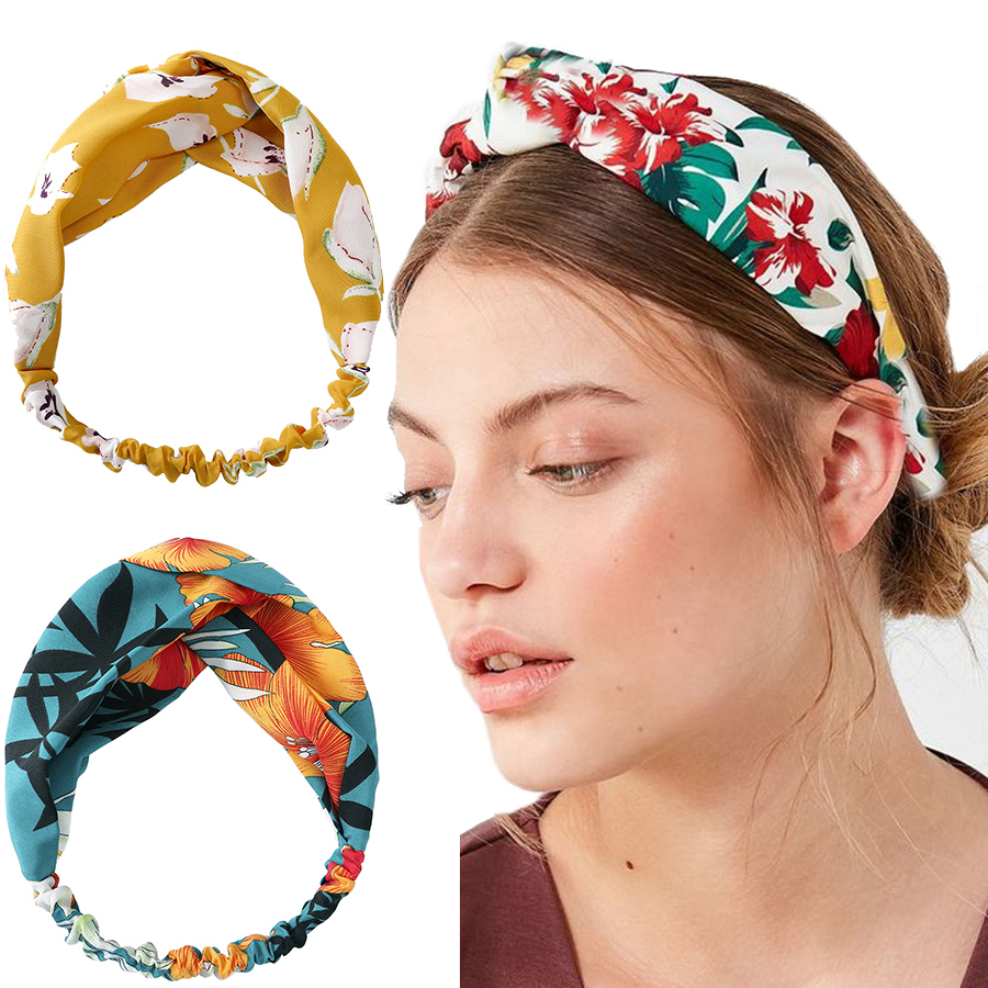 2020 New Women Printing Headband Headwear Fashion Elastic Hair Band Turban Hairband Bandage Headdress Hair Accessories