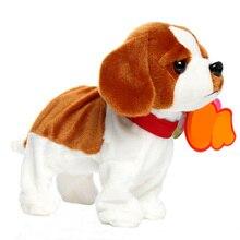Прогулки робот собака управление звуком милые дети смешные интеллектуальные Домашние животные лай Интерактивная электрическая подставка для игрушки