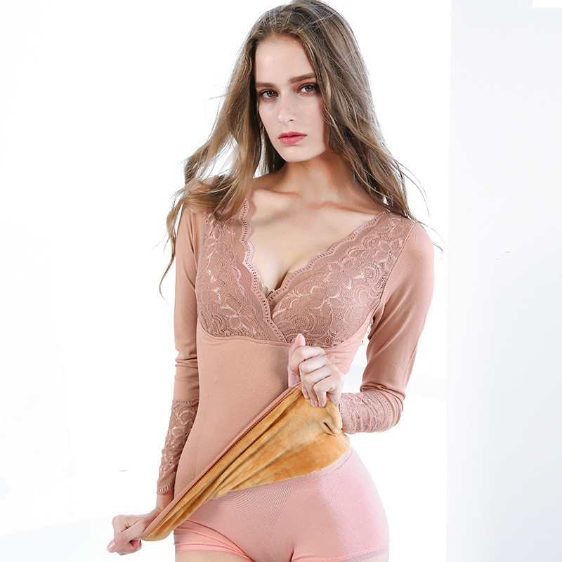 Sexy V-Neck Bodycon Women's Thermal Tops  Long Sleeve Lace Underwear Especially Female Velvet Thick Warm Winter Woman Clothes