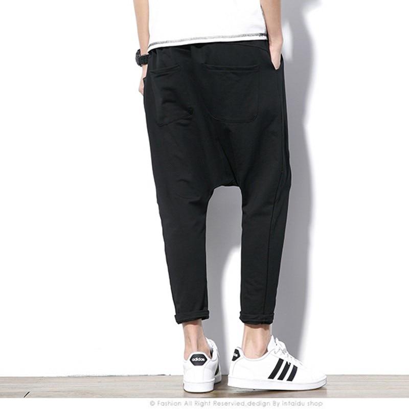 Image 2 - Fashion Black Gray Harem Pants Men Hip Hop Streetwear Baggy Rock  Mens Trousers Pants Cotton Stretch Casual Joggers Pants Malemens harem  pantspants stylestyle pant