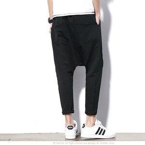 Image 2 - ผู้ชายกางเกง Hip Hop Streetwear ลำลอง Harem กางเกงผู้ชายสีดำสีเทาผ้าฝ้าย Sweatpants Solid Techwear Baggy กางเกงชาย