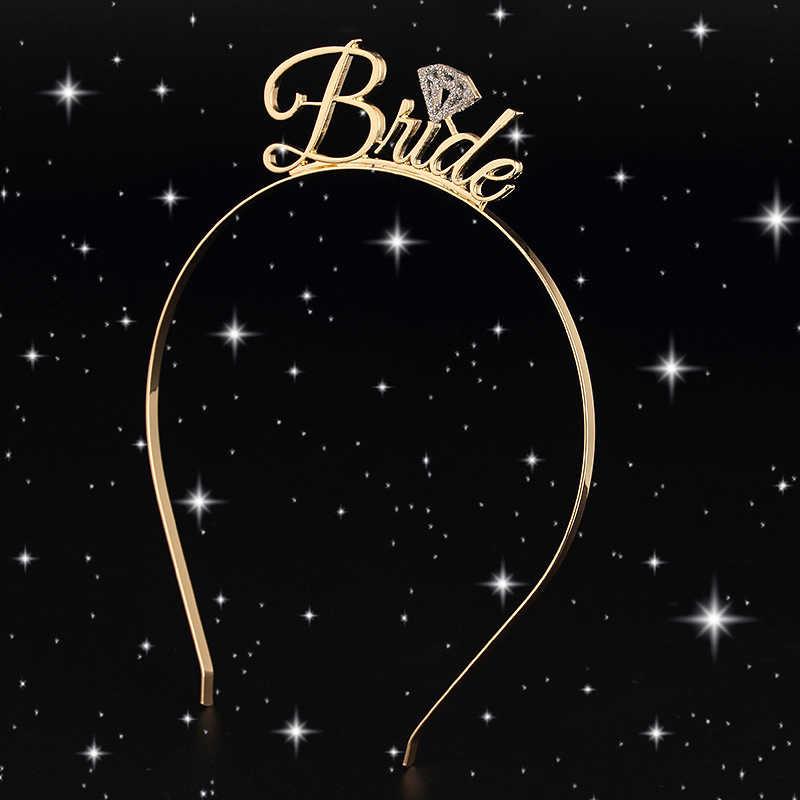 1pc כלה שושבינה נזר כתר בגימור מסיבת רווקות כלה להיות חתונה כלה מקלחת בנות לילה קישוט מתנות