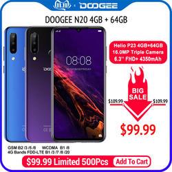 DOOGEE N20 мобильный телефон отпечатков пальцев 6,3 дюймов FHD + дисплей 16MP Тройная задняя камера 64 ГБ 4 ГБ MT6763 Восьмиядерный 4350 мАч мобильный