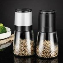 Manuelle salz und pfeffer grinder pulverisierer Transparent glas spice jar grinder gewürz flasche korn pfeffer mühle sprayer