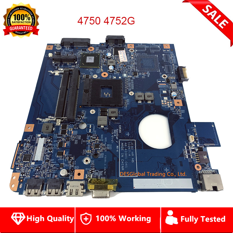 YOUKITTY Four sourare for Acer Aspire 4750 4750g 4752 4752g Laptop Motherboard PGA989 MBRPT01001 48.4IQ01.041 Mainboard Test Good