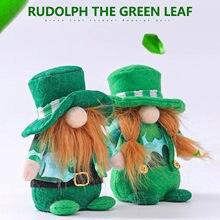 St. Patrick günü yeşil şapka şanslı Gnome bebek İrlanda yonca Faceless yaşlı adam yeşil yaprak festivali süslemeleri Freeship sıcak