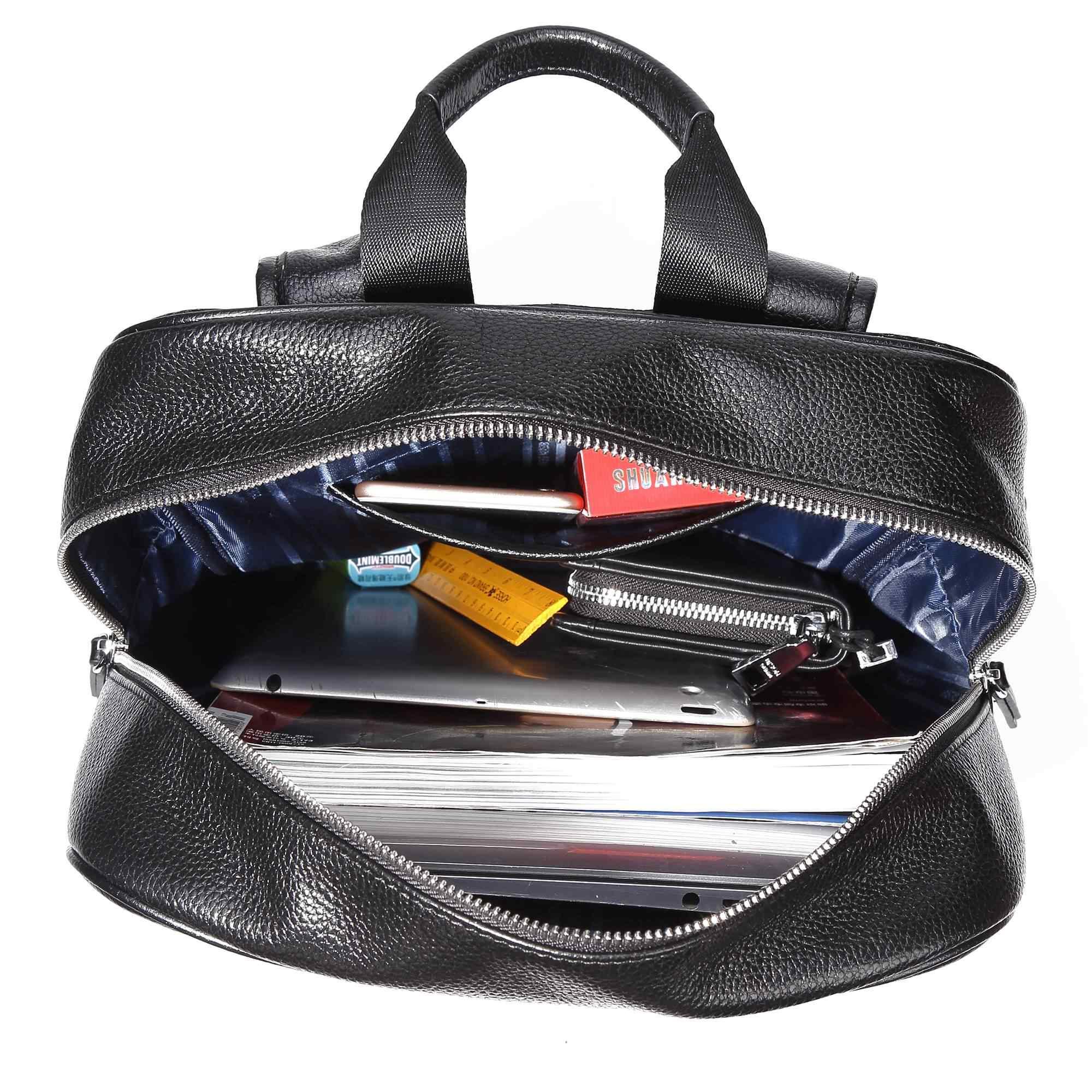 """BISON Джинсовый Рюкзак из натуральной кожи для мужчин большой емкости дорожная сумка 14 """"рюкзак для ноутбука для подростка рюкзак для отдыха N2659"""