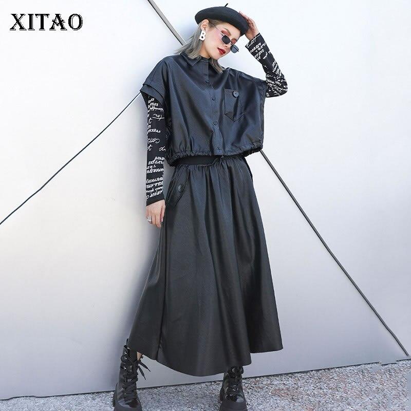 XITAO Western Style 2 Pieces Set Women Clothes 2019 Fashion Turn Down Collar Short Elastic Waist Pocket Match All Skirt ZLL4397