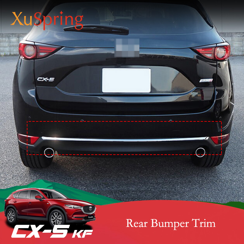 For <font><b>Mazda</b></font> CX-5 <font><b>CX5</b></font> 2017 2018 <font><b>2019</b></font> 2020 KF Car Rear Door Bottom Chrome Trim Tail Bumper Strips Stickers Cover styling <font><b>accessories</b></font> image
