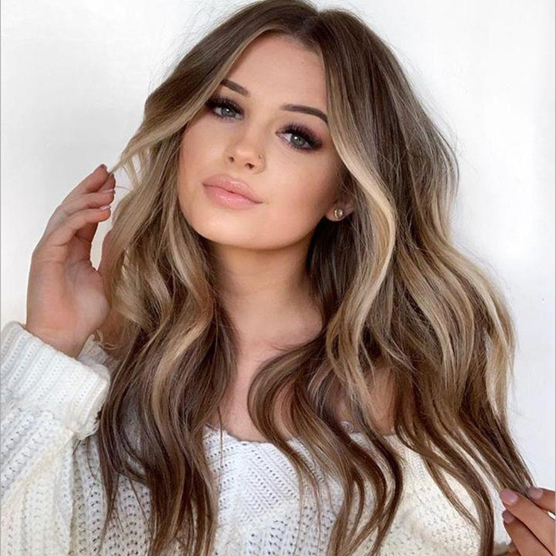 LUHAN Long Wavy Ombre Blonde Wig Platinum Blonde Synthetic Wigs For African American Women Two Tone Natural Middle Part Wig