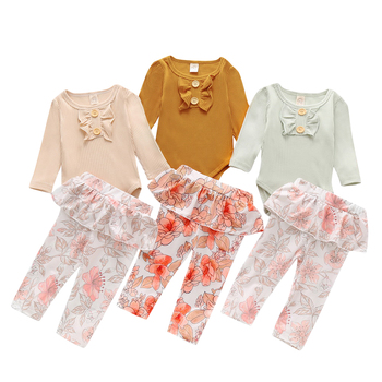 Ruffle Baby Girls Outfits 2020 Autumn Newborn baby Girl Clothes Set 2Piece Long Sleeve Bodysuit+Floral trousers Infant Suit D30 2020 baby clothing newborn baby girls autumn clothes flower lace floral solid dress bodysuit outfits jumpsuits