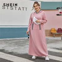 Shein plus size cor-de-rosa listrado guarnição com capuz t vestido sem saco feminino primavera manga longa mais casual vestidos maxi em linha reta