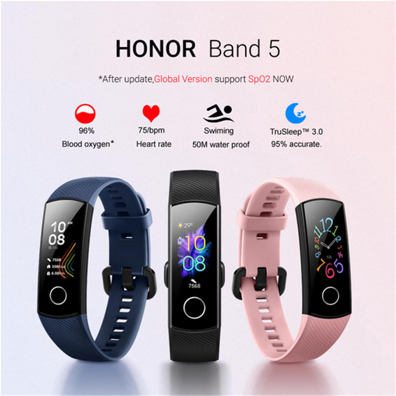 Waterproof HONOR Band 5 Multi Language Global Version Heart Rate Monitor Sleep Monitor SpO2 Blood Oxygen Monitor Wristband image