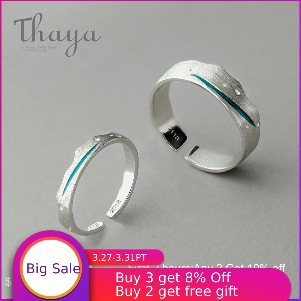 Thaya Time Travel Wave Blue Finger Ring Stackable S925 Sterling Silver Drawing Line Open Rings Women Jewelry Handmade Lover Gift