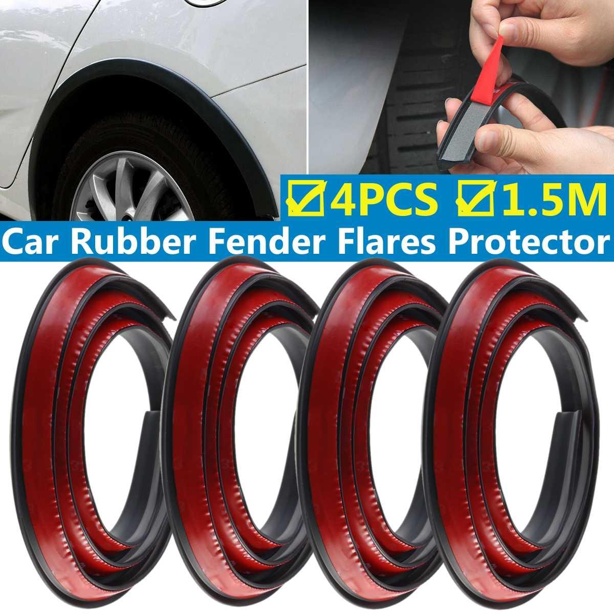 4x Auto Car Extension Wheel Eyebrow Trim Protector Lip Sticker Part Carbon Fiber