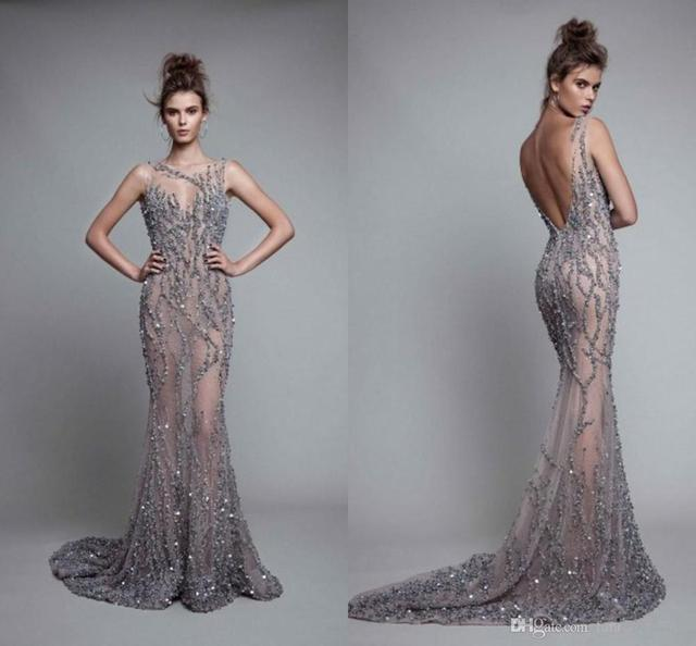 Illusion Crystal Sleeveless Floor Length Jewel Backless Mermaid Evening Dresses Luxurious Evening Gowns Sexy Prom Dresses