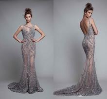Illusion cristal sans manches longueur de plancher bijou dos nu sirène robes de soirée robes de soirée luxueuses robes de bal Sexy