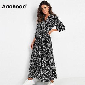 Aachoae Vintage Floral Print Maxi Dress Women Boho Three Quarter Sleeve Long Dress Turn Down Collar Casual Shirt Dresses Robe