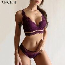 חדש למעלה שחור חזייה ותחתונים סט דק כותנה חזייה לרקום הלבשה תחתונה סט תחרה חזיית נשים סקסי תחתוני סט עמוק V לאסוף