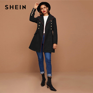 Image 5 - SHEIN Black Lapel Collar Gold Button Detail Contrast Piping Coat Winter Long Sleeve Elegant Outwear Long Pea Coats