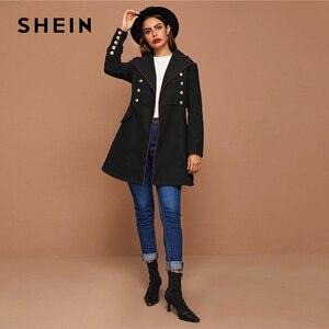 Image 5 - SHEIN siyah yaka yaka altın düğme detay kontrast boru ceket kış uzun kollu zarif dış giyim uzun bezelye Coats