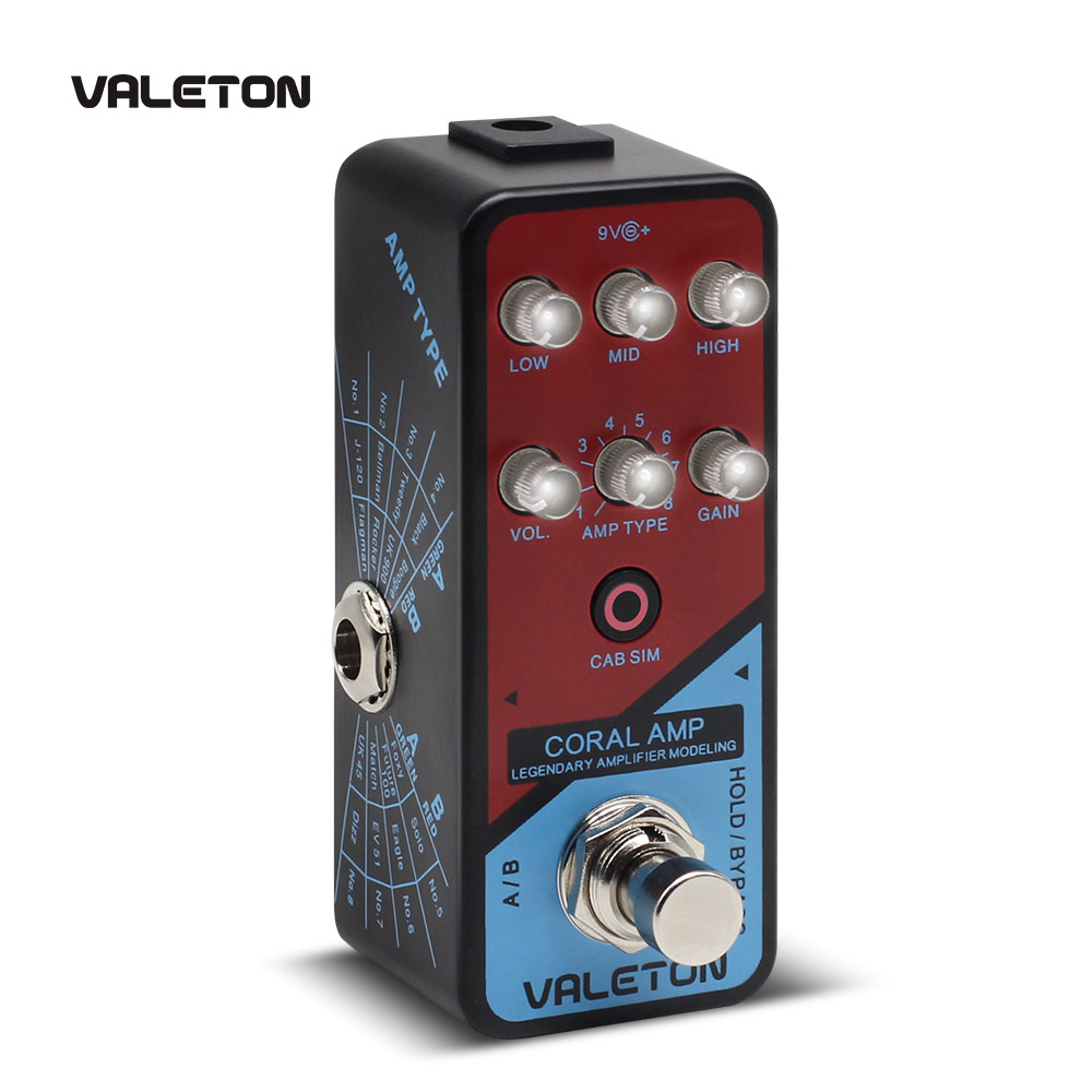 Valeton Amp Modeler Guitar Pedal Coral Amp of 16 Classic And Mainstream Guitar Amp Models From