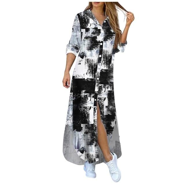 Fashion Women Korean Denim Dress Plus Size Summer Dress Lapel Split Sexy Long Maxi Jeans Dress Vestidos De Mujer 2021 #T2Q 4
