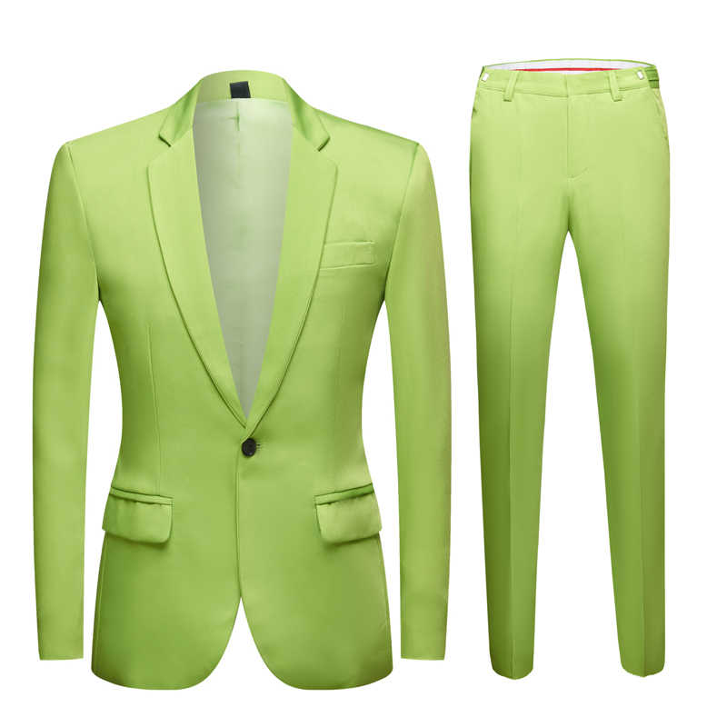 Neue Flut Männer Bunte Mode Hochzeit Anzüge Plus Größe Gelb Rosa Grün Blau Lila Anzüge Jacke Hosen 2Pcs Smoking