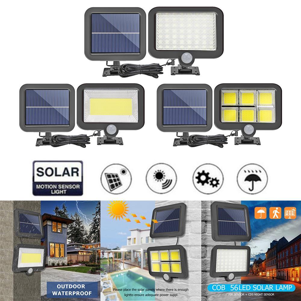 COB 56/100 Led Солнечная Сплит лампа датчик движения Солнечная настенная лампа водонепроницаемый Наружное ночное освещение уличная лампа с солн...