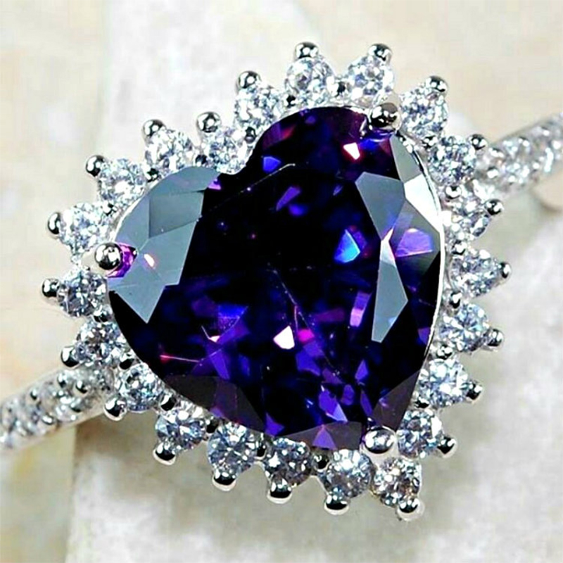 Heart-Ring Cz-Stone Inlay Sterling-Silver Purple Women Party Romantic-Lover Vintage S925 title=