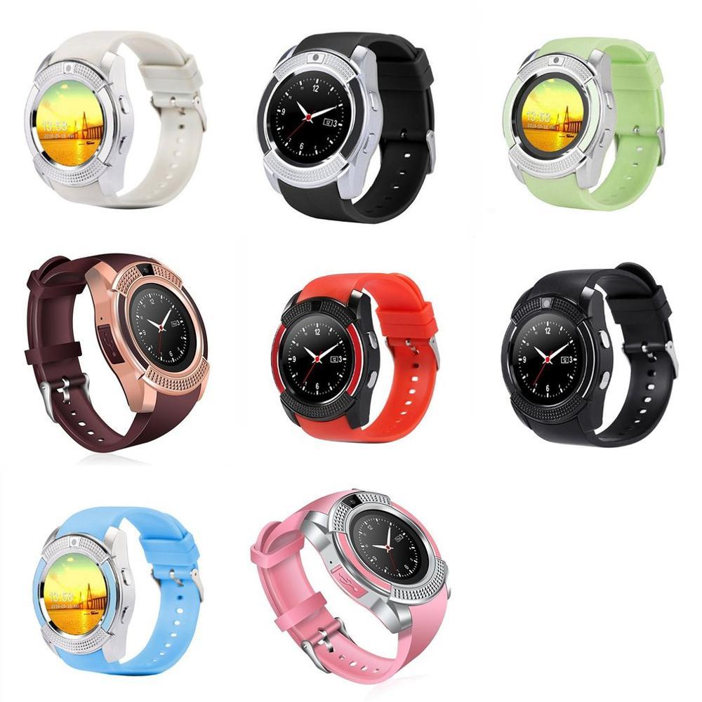 Bunte V8 Smart Wireless Uhr Wasserdichte Sport Smartwatch Touch Screen mit Kamera SIM Karte Slot Wasserdichte Intelligente Uhr