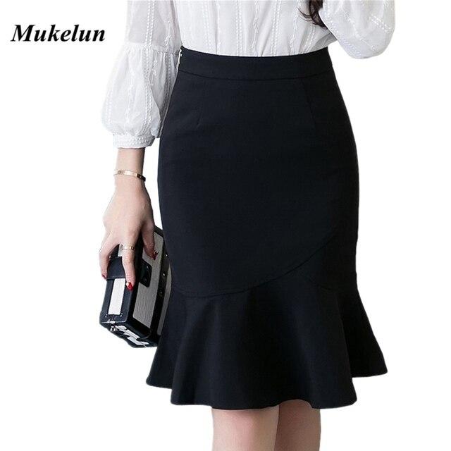 S 5XL 2020 Women Pencil Skirt Fashion OL Slim Bodycon Business Wear Ruffles Hem Mermaid Style Plus Size Ladies Office Skirt