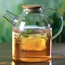 Est 1.8L большая емкость Высокая термостойкая боросиликатная стеклянная бутылка для воды кофе фильтр цветочный чайник с бамбуковой крышкой