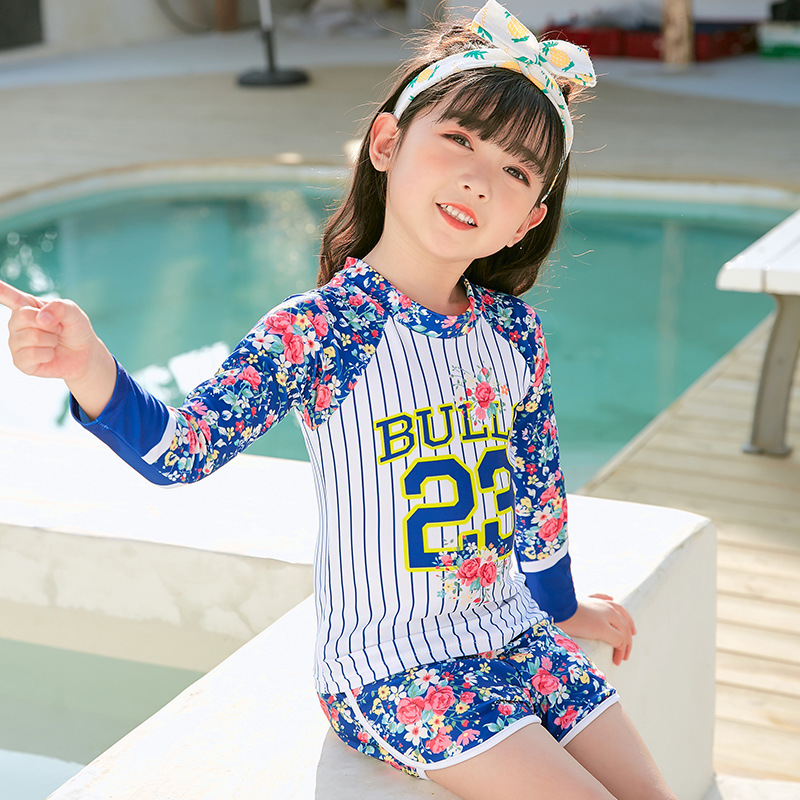 2019 New Style Hot Sales KID'S Swimwear Long Sleeve Boxer Shorts Sun-resistant Floral Stripes Tassels Split Type GIRL'S Swimsuit
