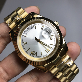 white dial AAA luxury 18K watch automatic DAYDATE men automatic Self-wind 40mm watches Stainless steel Wristwatch no battery newest 44mm parnis white dial moon phase complete calendar golden plated case automatic self wind movement men s wristwatches